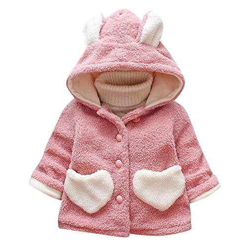 Kids Baby Girls Winter Coats Cute Ear Hooded Coat with Heart Pocket Warm...