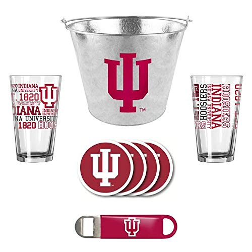 - Boelter/Duckhouse NCAA Indiana - Metal Ice Bucket, Spirit Pint Glasses (2), Coasters (4) & Bottle Opener Set | Indiana Hoosiers Beer Bucket Gift Set