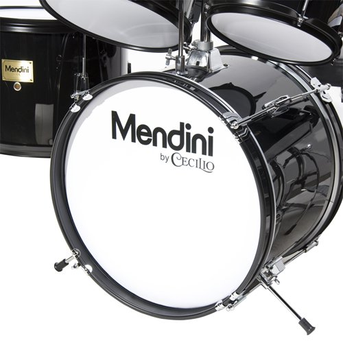Mendini by Cecilio 16 inch 5-Piece Complete Kids / Junior Drum Set with Adjustable Throne, Cymbal, Pedal & Drumsticks, Metallic Black, MJDS-5-BK by Mendini (Image #5)
