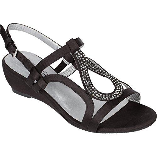 Sol Mia Women's Low Wedge Dress Sandals, Open Toe Rhinestone Formal Wedding Shoes, Black, 7.5 B(M)
