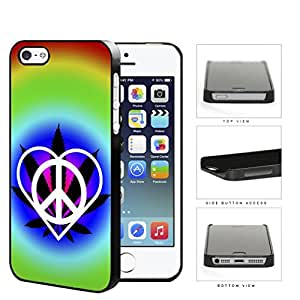 Peace Love Weed Hippie Hard Plastic Snap On Cell Phone Case Apple iPhone 5 5s
