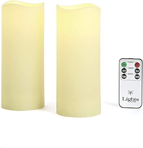 Outdoor Flameless Candles, Set of 2 – Large 3 x 7 Decorative Pillar Candles,Warm White LED Glow, Water Resistant, Batteries Included