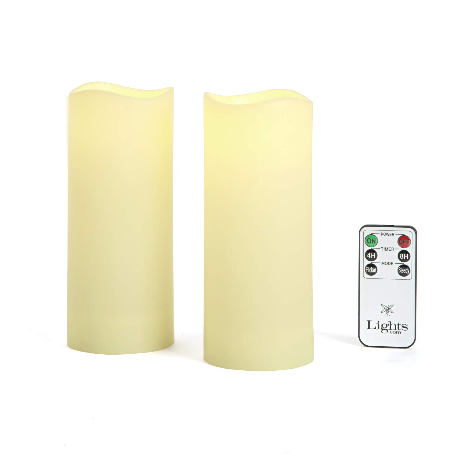 Outdoor Flameless Candles, Set of 2 - Large 3'' x 7'' Decorative Pillar Candles,Warm White LED Glow, Water Resistant, Batteries Included