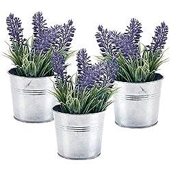 6-inch Artificial Lavender Plant Decor, Faux Flowers with Metal Planter Pot, Set of 3