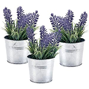 MyGift 6-inch Artificial Lavender Plant Decor, Faux Flowers with Metal Planter Pot, Set of 3 42