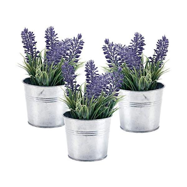 MyGift 6-inch Artificial Lavender Plant Decor, Faux Flowers with Metal Planter Pot, Set of 3