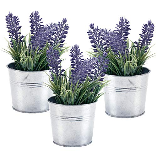 MyGift 6-inch Artificial Lavender Plant Decor, Faux Flowers with Metal Planter Pot, Set of 3