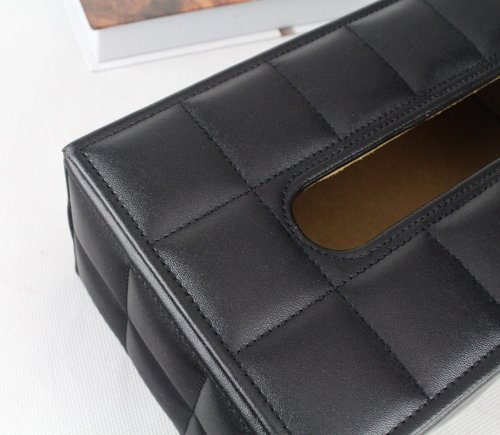 Love Nest PU Soft Sheep Leather High Class and Fashionable Tissue Box Rectangle/Tissue Box Cover Large Size (1, sheep leather black) by Love Nest (Image #2)
