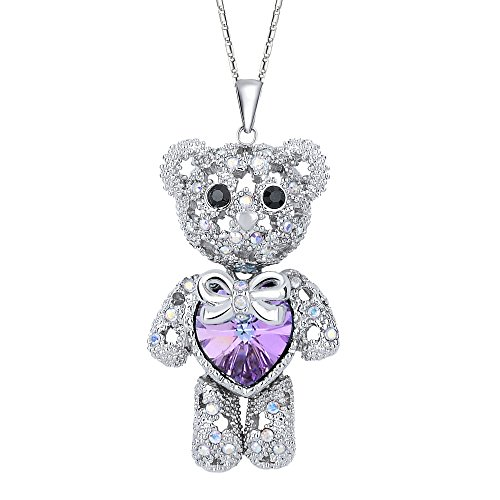 EleQueen Womens Silver-Tone Love Heart Bear Pendant Necklace Purple Adorned with Swarovski Crystals