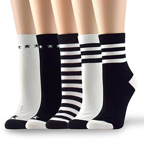 Socksmood 5 Pairs Women's Cotton Crew Socks Black White Star Stripe Assorted Colors Patterns (Star Pattern Cotton)