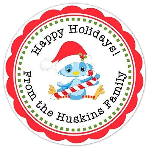 amazon com happy holidays stickers customized sweet bluebird