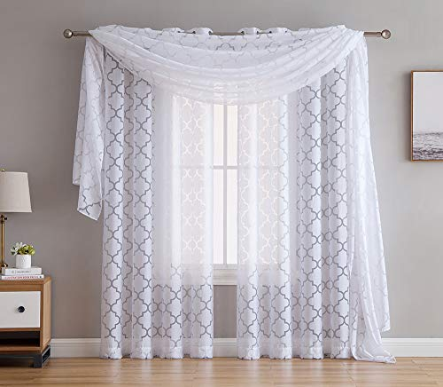 (HLC.ME Lattice Sheer Voile Burnout Long Window Swag Scarf Valance - White - 54