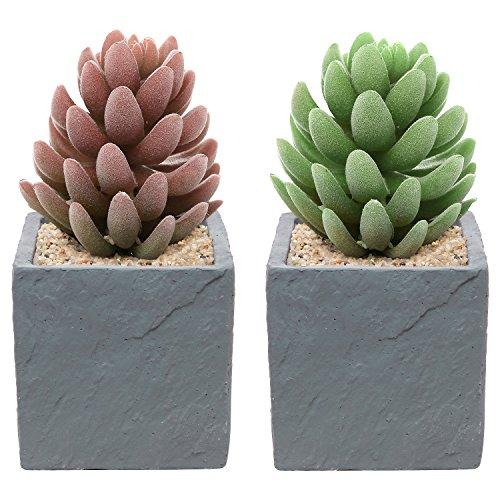 Set of 2 Contemporary Square Natural Stone Design Decorative Cement Plant Flower Planter Pots, Gray - MyGift® (Cement Planter Pot)