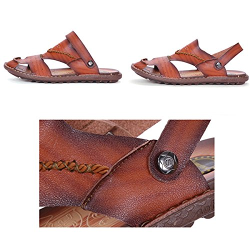 gracosy Mens Leather Slip On Sandals, Closed Toe Anti-Collision Hiking Trekking Sports Shoes Casual Indoor Outdoor Walking Beach Flat Sandals Comfy Soft Sole Ankle Strap Fisherman Shoes Khaki