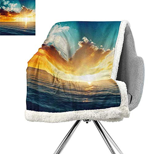 - ScottDecor Ocean Flannel Bed Blankets,Majestic Sunset Over The Sea Scenic Idyllic Aquatic View Morning Picture,Turquoise Orange Blue,Print Summer Quilt Comforter W59xL31.5 Inch