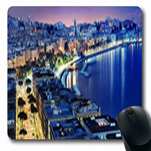 Mousepads Blue Wonderful Naples Panoramic View Dock by Night Napoli Holidays Mediterranean Oblong Gaming Mouse Pad Non-Slip Rubber Mat