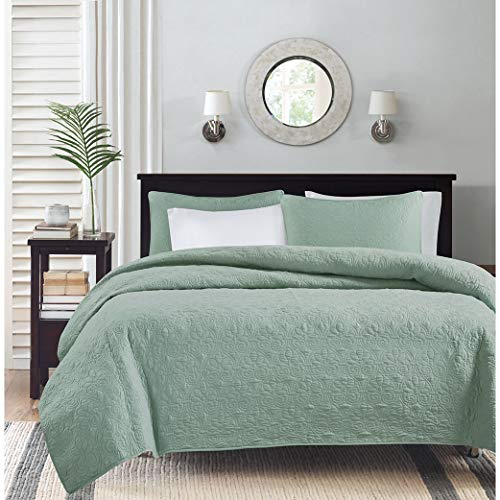 Madison Park Quebec Full/Queen Size Quilt Bedding Set - Seafoam, Damask - 3 Piece Bedding Quilt Coverlets - Ultra Soft Microfiber Bed Quilts Quilted Coverlet