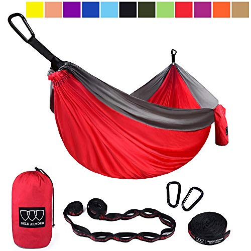 Gold Armour Camping Hammock - Single Parachute Camping Hammock (2 Tree Straps 16 LOOPS/10 FT Included) Lightweight Nylon Portable Hammock, Best Parachute Single Hammock (Red/Gray)