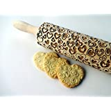 HEARTS embossing rolling pin. Wooden rolling pin for embossed cookies with love hearts for wedding, birthday, Mother's Day, Valentine Day. Embossing rolling pin