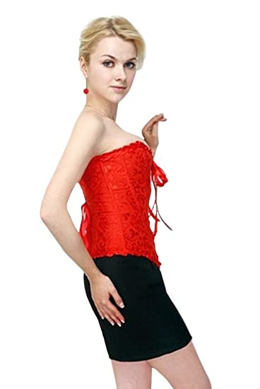 0968c4fa0 Satén negro o rojo cordón de la vendimia hasta el corsé deshuesado falda  Vasco y tutú, cintura 34, 36, 38, 40, 42, 44, 46, 48, 50,52