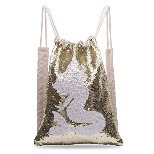 Xiaowli Sequin Drawstring Backpack Mermaid Girls Reversible Outdoor Bag