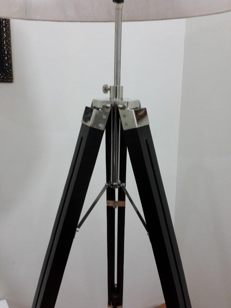 Vintage Tripod Floor Lamp,nautical Style Corner Black Tripod Lamp With White Shade