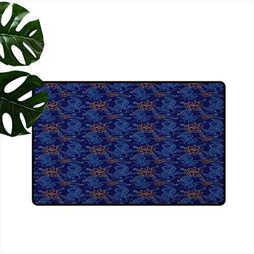 Fish Outdoor Door mat Oriental Koi Fish Floral Arrangement Petals and Leaves Doodle Style Animal Durable W15 x L23 Royal Blue Aqua Orange