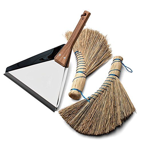 (Two Natural Rice-Straw Whisk Brooms and a 7-3/4
