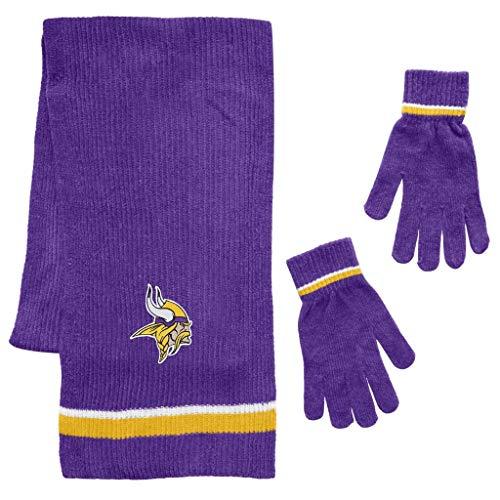 Glove Minnesota Vikings (Littlearth NFL Minnesota Vikings Unisex Chenille Scarf & Glove Setscarf & Glove Set, Team Color, One Size)