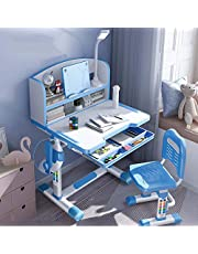 Kids Study Desk Chair Set, Height Adjustable Student Writing Desk with Pull-Out Drawer and Bookstand, Children's Table Orthosis for School Bedroom(Color:Blue)