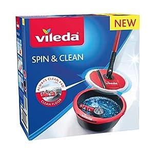 Vileda Spin & Clean Balai laveur, Noir et Rouge, Seau rond et compact