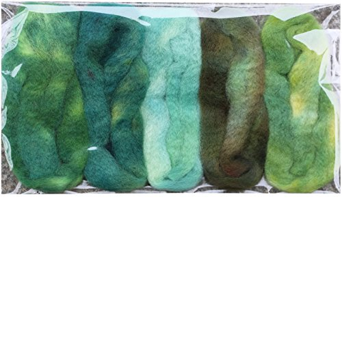 Needle Felting Roving Fiber for Felting Spinning Weaving Dryer Balls Soap Making and Embellishments. Color Sampler Pack of BFL Wool Hand Dyed in USA by Living Dreams. Greenery