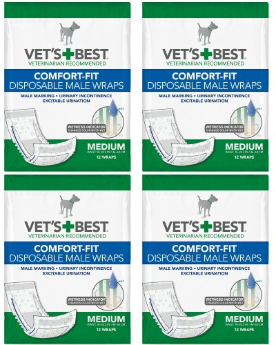 Product image of Vet's Best Comfort-fit Disposable Male Wrap, Medium 48 Wraps (12 x 4 Count)