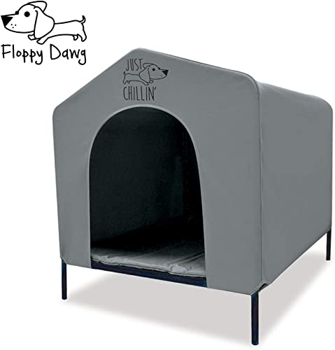 Floppy Dawg Elevated Dog Shelter. Great for Outdoor or Indoor Use. Made of Water Resistant Durable Oxford Fabric. Pet Shelter is Easy to Assemble, Lightweight, and Portable.