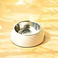 CXQ Hundenapf Pet Bowl Hundefutter Bowl Small Medium und Large Hund Edelstahl Anti-Rutsch Cat Bowl Weiß Heimtierbedarf