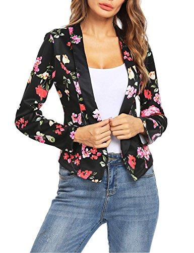 Crop Blazer (SE MIU Womens Open Front Floral Print Blazer Casual Work Office Jacket Black L)