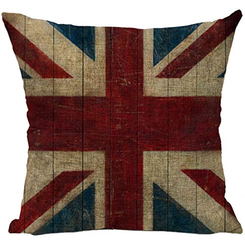 Old Style Country Flag - YFINE Old World Retro Country Rustic Style Cotton Linen Home Decorative Throw Pillow Cover Cushion Case -[British Union Jack Flag] 18