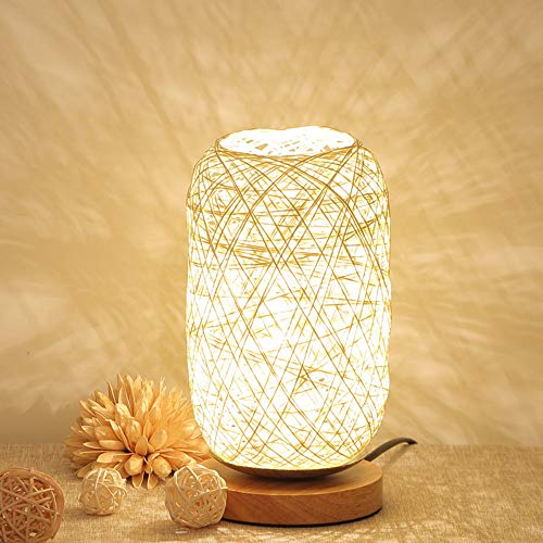 Iusun Tabletop Wood Rattan Twine Ball Lights Table Lamp Christmas Decoration Bedroom Desk Ornament Bonsai for Home Office Supplies Gift (Beige)