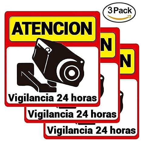 Diseño Pegatina/Cartel alarma con cámara disuasoria Atención vigilancia 24 horas alarma conectada Apto uso exterior Cartel camara vigilancia-seguridad ...