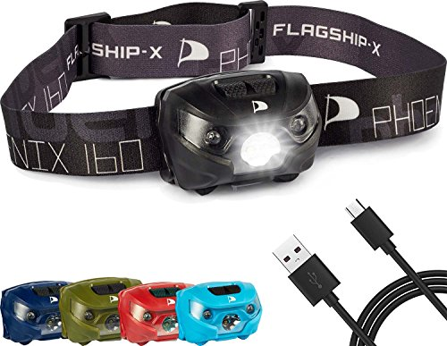 Flagship-X Phoenix Rechargeable Waterproof LED Camping Headlamp Flashlight for Running – Black