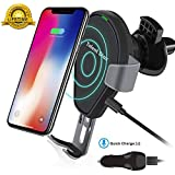 BUKER Wireless Car Charger Mount, Auto-Clamping 10w Qi Fast Charging Car Phone Holder&Stand Air Vent Compatible with iPhone Xs/XR/ X/ 8/8 Plus, Samsung Galaxy Note 9/ S9/ S8/ and All QI-enabed Device