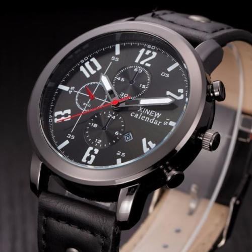 Men's Fashion Leather Sport Analog Quartz Stainless Steel Wrist Watch Waterproof, Fashion Lovely And High Quality Trendy Watch!, As a perfect gift for yourself or your friends - Nike Glasses Canada