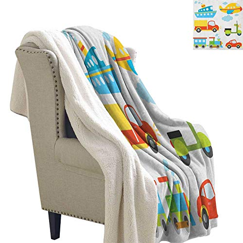 Suchashome Boys Lightweight All-Season Blanket Abstract Transportation Types for Toddlers Car Ship Truck Scooter Train Aeroplane Flannel Bed Blankets 60x32 Inch Multicolor