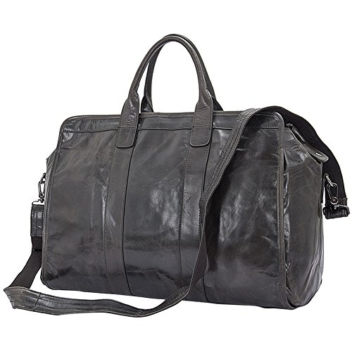 Berchirly Mens Genuine Leather Overnight Travel Duffle Luggage Carry On Gray by Berchirly