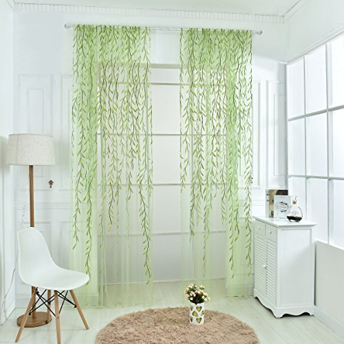 Norbi Willow Voile Tulle Room Window Curtain Sheer Voile Panel Drapes Curtain (Green B/39.4