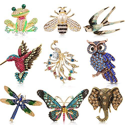 9 Pieces Woman Animal Brooch Pin...