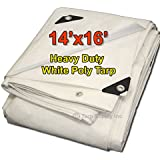 Tarpsupply 14' x 16' Heavy Duty 12 By 12 Cross Weave 10 Mil White Poly Tarp with Grommets Approx Every 24 Inches All Around, Corner Solid Plastic Bar Reinforcement for Extra Strength