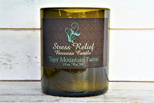Stress Relief Aromatherapy Beeswax Candle Hand Poured into Recycled Wine Bottles. Unique Gift for men, women and teens. Scented with Lavender, Vanilla and Musk | Tiger Mountain - Shop Gigi Online