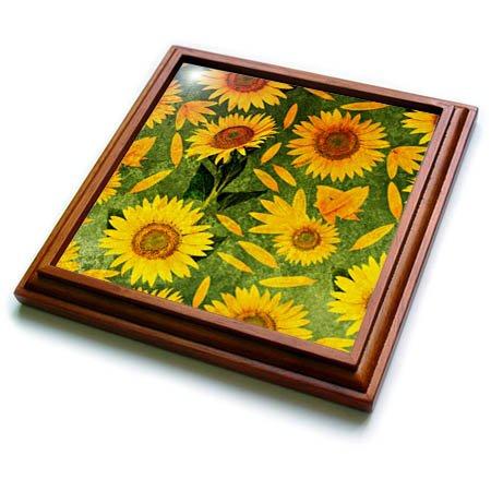 3dRose trv_266847_1 Trendy Summer Sunflower Flower Pattern Trivet with Tile, 8 by 8''