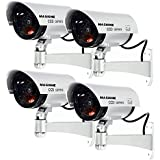 Masione 4 Pack Outdoor Fake/Dummy Security Camera w/Blinking Light CCTV Surveillance (Silver)